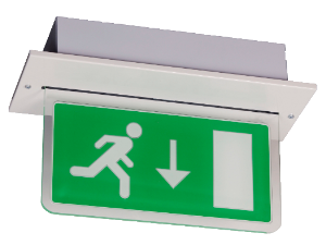 BE3FR-8W-D-W | Fully Recessed Emergency Blade Exit Sign